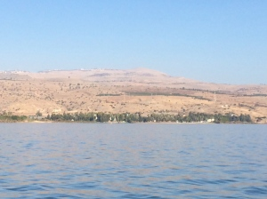 The northwest shore of the Sea of Galilee, looking toward Tabgha.