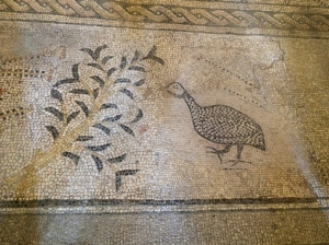 A mosaic in the floor of the Heptapegon, at the Tabgha Benedictine Monastery.